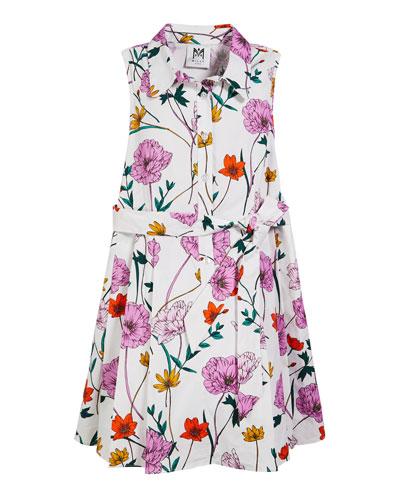 Poppy Print Poplin Shirt Dress, Size 7-16