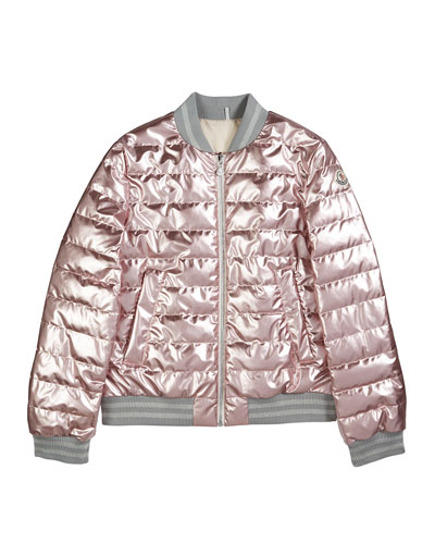 Metallic Quilted Bomber Jacket, Size 8-14