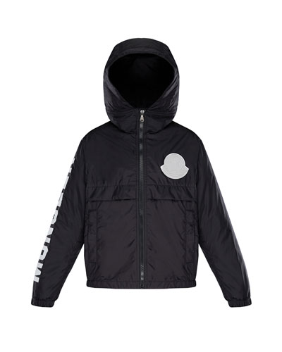 Hooded Nylon Jacket w/ Logo Sleeve, Size 4-6