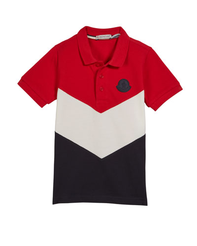 Tricolor Short-Sleeve Polo Shirt, Size 8-14