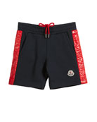 Moncler Cotton Gym Shorts w/ Contrast Quilted Sides,