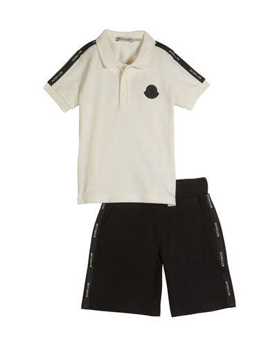 Logo Taping Polo Shirt w/ Matching Shorts, Size 8-14