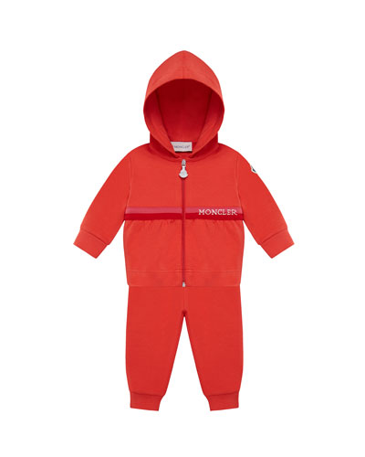 Shirred Zip-Up Hoodie w/ Matching Sweatpants, Size 12M-3