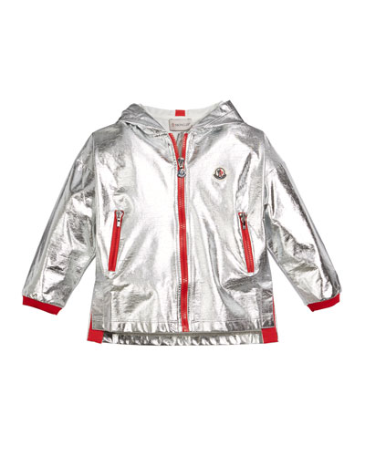 Metallic Zip-Up Hooded Jacket, Size 4-6