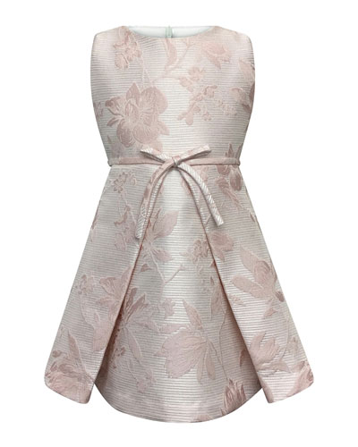 Sleeveless Floral Jacquard Dress, Size 7-14