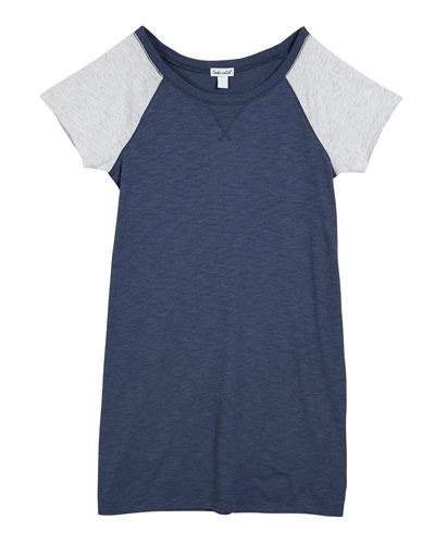 Slub Jersey Two-Tone Raglan Sleeve Shirt Dress, Size 7-14