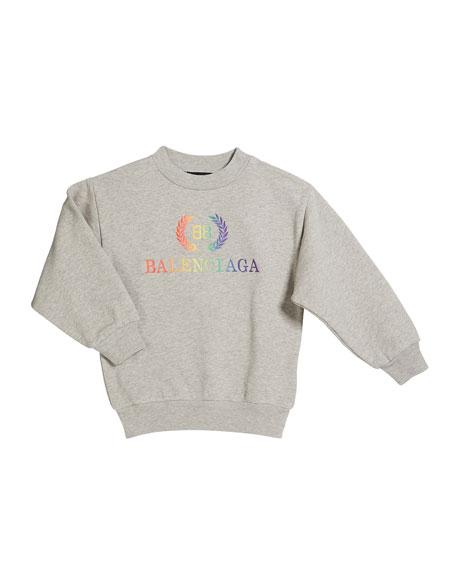 Balenciaga Rainbow Logo Crest Sweatshirt, Size 2-10