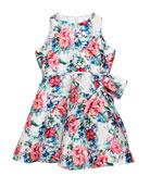 Helena Floral Taffeta Sleeveless Dress, Size 2-6 and