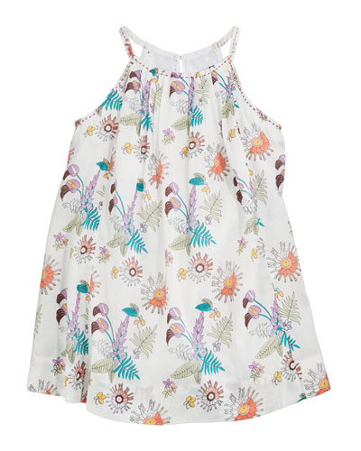 Gaia Floral Pleated Halter Dress, Size 3-24 Months