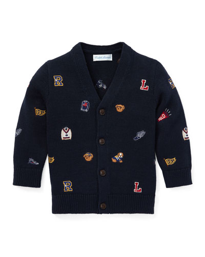 Collegiate Embroidered V-Neck Cardigan, Size 6-24 Months