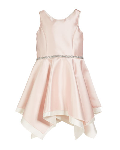 Sleeveless Handkerchief Dress with Crystal Belt, Size 7-16