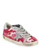 Golden Goose Girls' Superstar Glittered Camo Low-Top Sneakers,