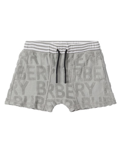 Mick Embossed Terry Logo Shorts, Size 6M-2