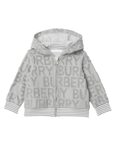 Embossed Terry Logo Hooded Jacket, Size 6M-2