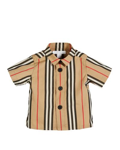 Sammi Icon Stripe Short-Sleeve Collared Shirt, Size 6M-2
