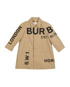 Burberry Antonio Logo Print Trench Coat, Size 3-14