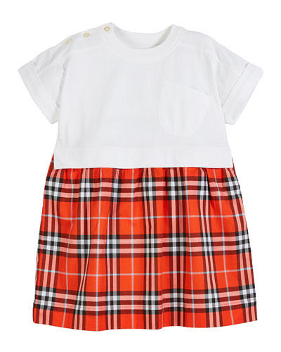 Short-Sleeve T-Shirt & Plaid Skirt Dress, Size 3-14
