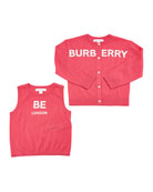 Burberry Joselyn Two-Piece Logo Cashmere Set, Size 3-14