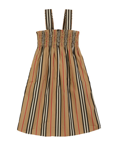 Junia Icon Stripe Smocked Sun Dress, Size 3-14
