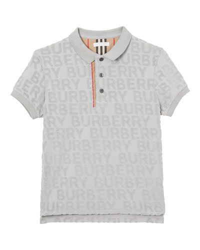 Mick Embossed Terry Logo Polo Shirt, Size 10-14