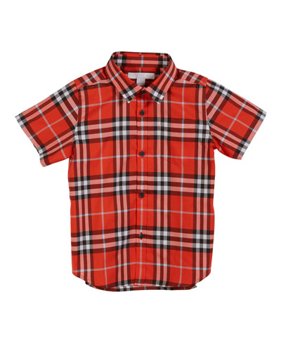 Fred Short-Sleeve Check Shirt, Size 3-14