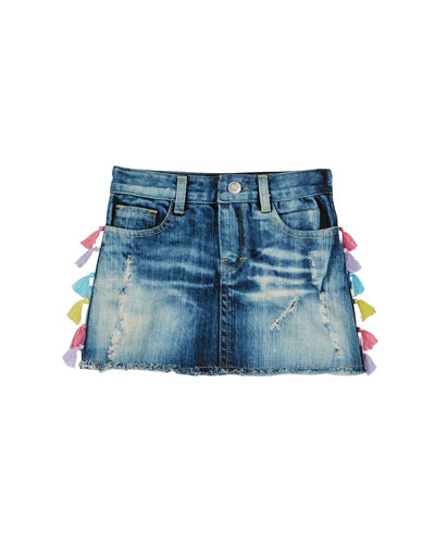 0ef8ce7d3 Blue Denim Distressed Skirt | Neiman Marcus