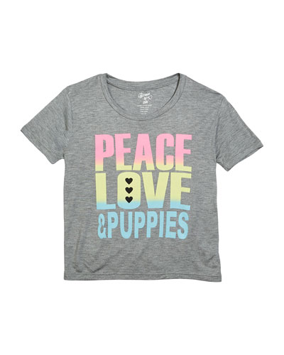 Peace Love & Puppies Tee, Size S-XL