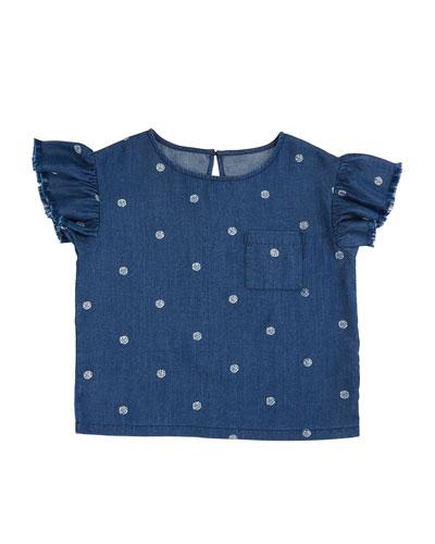 Polka-Dot Ruffle-Sleeve Top, Size 7-14
