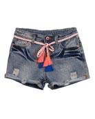 Hannah Banana Distressed Denim Shorts w/ Tassel Belts,