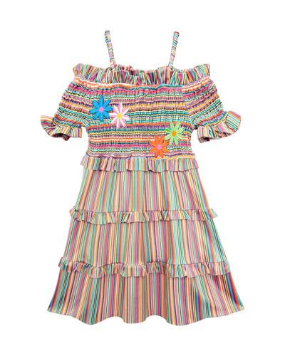 Stripe Smocked Cold-Shoulder Dress, Size 7-14