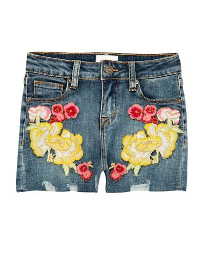 Girls' Garden Embroidered Denim Shorts, Size 7-16