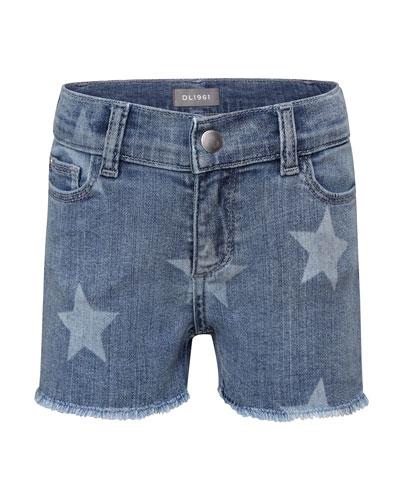 Girls' Lucy Star-Print Denim Shorts, Size 7-16