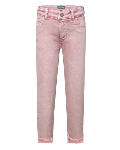 Girls' Chloe Skinny Raw-Hem Acid Wash Jeans, Size 7-16