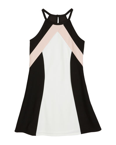 The Hope Colorblock Techno Crepe Halter Dress, Size S-XL