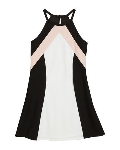 The Hope Colorblock Techno Crepe Halter Dress, Size S-XL