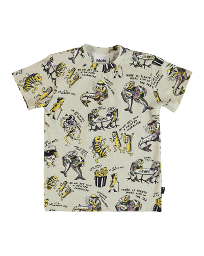 Road Cartoon Print T-Shirt, Size 4-10