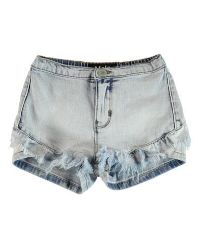 Agnetha Raw Edge Ruffle Trim Denim Shorts, Size 6-14