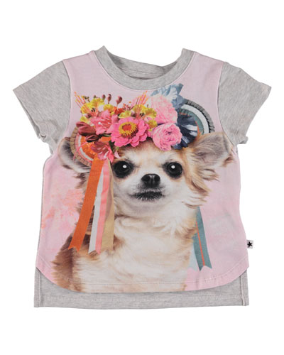 Erin Flower Crown Dog Print Tee, Size 6-24 Months