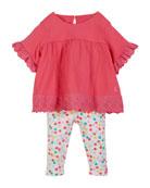 Joules Eyelet Trim Dress w/ Dot Print Leggings,