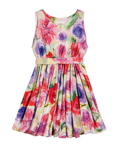 Pastel Rose Print Knit Dress, Size 2-6