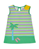 Florence Eiseman Multi-Stripe Palm Tree Dress, Size 2-6