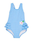 Florence Eiseman Gingham Ruffle-Trim One-Piece Swimsuit, Size 2-4