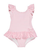 Florence Eiseman Stripes & Dots Ruffle-Trim One-Piece Swimsuit,