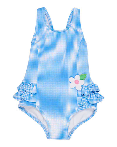 Gingham Ruffle-Trim One-Piece Swimsuit, Size 6-24 Months