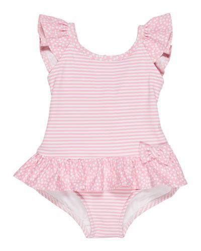 Stripes & Dots Ruffle-Trim One-Piece Swimsuit, Size 2-4