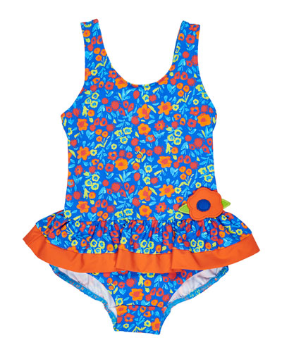 Floral One-Piece Swimsuit, Size 2-6X