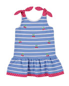 Florence Eiseman Cherry Embroidered Stripe Knit Pique Dress,