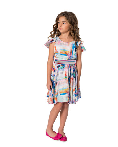 Watercolor Sateen Flounce Hem Swing Dress, Size 7-16
