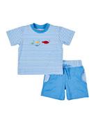 Florence Eiseman Stripe Fish Embroidered Short w/ Matching