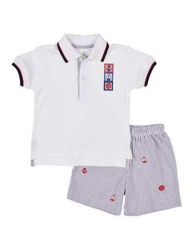 Nautical Polo Shirt w/ Seersucker Shorts, Size 12-24 Months
